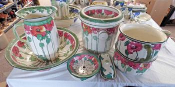 SELECTION OF ROYAL DOULTON POPPIES PATTERN D3225 PORCELAIN: EWER & BASIN, TWO CHAMBER POTS,