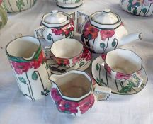 ROYAL DOULTON POPPIES PATTERN D 3225 TEA SET FOR TWO WITH EXTRA WATER JUG