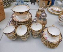 BLUE AND GILT FLORAL TEASET WITH CARLTON WARE SUGAR AND CREAM SET Condition Report: