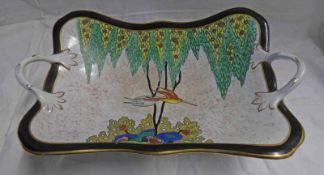 CARLTON WARE TWIN-HANDLED DISH WITH FLORAL AND HUMMINGBIRD DECORATION - 31CM WIDE