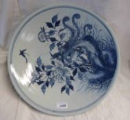 CHINESE BLUE & WHITE DISH DECORATED WITH EXOTIC BIRD - 40CM DIAMETER
