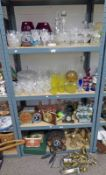 LARGE SELECTION OF GLASSWARE, CLOCKS, ETC INCLUDING DECANTERS, LEMONADE SET, POTTERY DOGS,