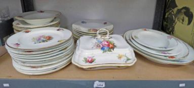 19TH CENTURY CROWN DERBY DINNERWARE DECORATED WITH FLOWERS INCLUDING 4 ASHETS,