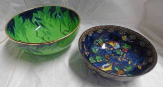 TWO CARLTON WARE BOWLS ONE DECORATED WITH BIRD AND FRUIT,