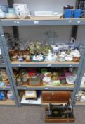 LARGE SELECTION OF VARIOUS PORCELAIN, ETC, INCLUDING SINGER SEWING MACHINE,