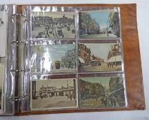 POSTCARD ALBUM OF VARIOUS TRAM STREET SCENES TO INCLUDE LIVERPOOL, BATH, LONDON,