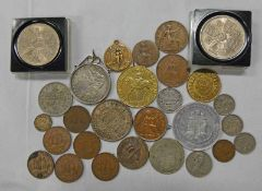 SELECTION OF UK AND WORLDWIDE COINS TO INCLUDE 1937 GEORGE VI CROWN, 1894 SOUTH AFRICA SHILLING,