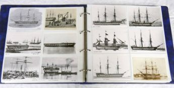 1 ALBUM OF VARIOUS SAIL & STEAM RELATED CARDS TO INCLUDE HMS IMPLACABLE,