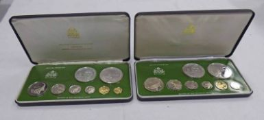 1976 AND 1977 GUYANA 8 COIN PROOF SETS, IN CASE OF ISSUE WITH C.O.A.