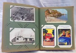 POSTCARD ALBUM TO INCLUDE VARIOUS LOCOMOTIVES, MILITARY POSTCARDS, NEW ORLEANS, JERSEY, COMIC CARDS,