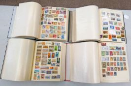 4 STAMP ALBUMS OF VARIOUS MINT AND USED STAMPS OF WORLDWIDE COUNTRIES BEGINNING M-Z TO INCLUDE USA,