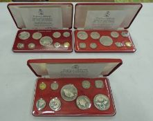 1874, 1975 AND 1976 BAHAMAS 9 COIN PROOF SETS, IN CASE OF ISSUE WITH C.O.A.