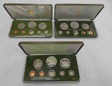 1975, 1976 AND 1977 TRINIDAD AND TOBAGO 8 COIN PROOF SETS IN CASE OF ISSUE WITH C.O.A.