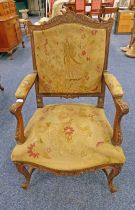 19TH CENTURY ORNATELY CARVED ARMCHAIR WITH SHAPED ARMS & SUPPORTS