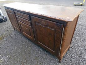 LATE 20TH CENTURY OAK SIDEBOARD WITH 2 DRAWERS AND 3 PANEL DOORS 96CM TALL X 208CM WIDE