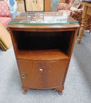 MAHOGANY BOW FRONT BEDSIDE CABINET ON QUEEN ANNE SUPPORTS