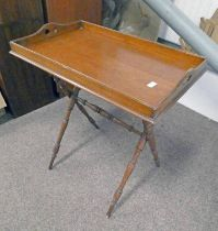 LATE 19TH CENTURY OAK BUTLERS TRAY AND STAND Condition Report: The stand has a piece
