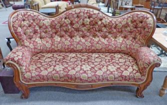 19TH CENTURY MAHOGANY FRAMED BUTTON BACK SETTEE IN FLORAL MAROON COVERING