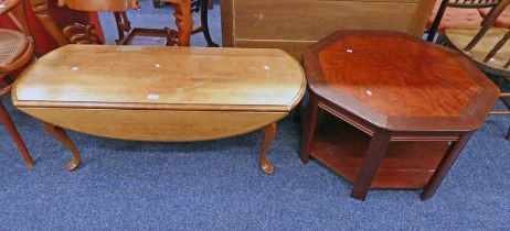 MAHOGANY OCTAGONAL COFFEE TABLE AND DROP FLAP COFFEE TABLE