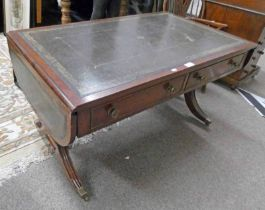 MAHOGANY COFFEE TABLE WITH LEATHER INSERT TOP AND 2 DRAWERS