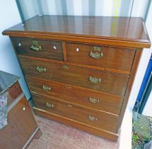 OAK CHEST WITH 2 SHORT OVER 3 LONG DRAWERS,