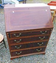 INLAID MAHOGANY BUREAU WITH FALL FRONT 4 DRAWERS ON BRACKET SUPPORTS,