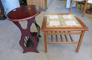 TILE TOPPED TABLE & OVAL MAHOGANY TABLE