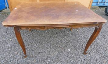 LATE 20TH CENTURY OAK PULL-OUT DINING TABLE ON SHAPED SUPPORTS EXTENDED LENGTH 229CM