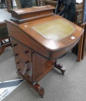LATE 19TH CENTURY INLAID WALNUT DAVENPORT WITH LEATHER INSERT TOP DRAWERS TO SIDE 82CM TALL X 53CM