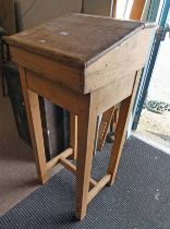 19TH CENTURY PINE CLERKS DESK 114CM TALL X 47CM WIDE Condition Report: The item has