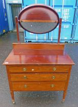 INLAID MAHOGANY DRESSING TABLE WITH MIRROR WITH 3 DRAWERS ON TAPERED SUPPORTS,