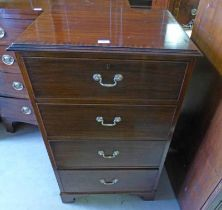 MAHOGANY CHEST OF 4 DRAWERS ON BRACKET SUPPORTS 111 CM TALL X 64 CM TALL