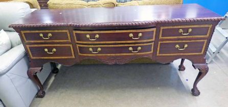 MAHOGANY SIDEBOARD ON BALL AND CLAW SUPPORTS WITH 2 LONG FLANKED BY 4 SHORT DRAWERS- 185CM LONG