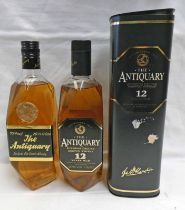 2 BOTTLES THE ANTIQUARY DE LUXE BLENDED WHISKY, ONE 12 YEAR OLD: 70CL 40% VOL.