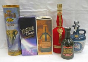 VARIOUS BOTTLE OF RUM & LIQUEUR TO INCLUDE ALFRED LAMBS NAVY RUM PORCELAIN DECANTER,
