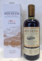 1 BOTTLE BEN NEVIS 21 YEAR OLD SINGLE MALT WHISKY, DISTILLED 1996 - 70CL, 54.