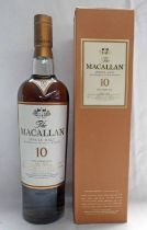 1 BOTTLE MACALLAN 10 YEAR OLD SINGLE MALT WHISKY - 700ML,