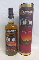 1 BOTTLE BENRIACH 21 YEAR OLD SINGLE MALT WHISKY, AUTHENTICUS PEATED MALT - 70CL,