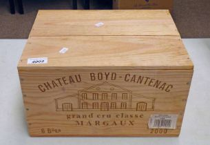 6 BOTTLES CHATEAU BOYD- CANTENAC VINTAGE 2000 IN SEALED ORIGINAL WOODEN CASE