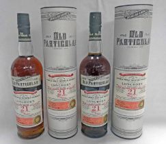 2 BOTTLES LONGMORN 21 YEAR OLD SINGLE MALT WHISKY, DOUGLAS LAING OLD PARTICULAR BOTTLING,