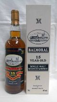1 BOTTLE BALMORAL 15 YEAR OLD SINGLE MALT WHISKY - 70CL, 46% VOL,