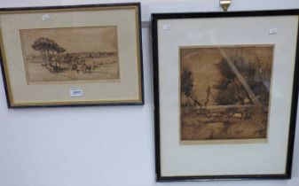 TWO FRAMED ETCHINGS BY ALEC FRASER WITH 'HOMEWARDS' 28.5 CM X 26.