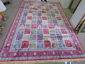 LARGE RED GROUND KASHMIR CARPET WITH TRADITIONAL PERSIAN PANEL DESIGN 330 X 235 CM
