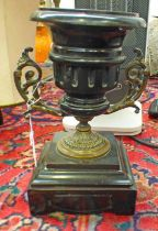 EARLY 20TH CENTURY BLACK SLATE URN WITH METAL MOUNTS,