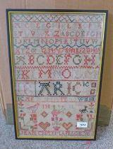 19TH CENTURY FRAMED ALPHABET SAMPLER BY JEAN CHAPMAN AGE 15 44 X 29 CM