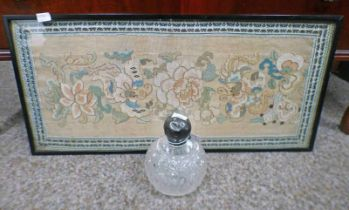 FRAMED 19TH CENTURY CHINESE TAPESTRY/PANEL AND A SILVER TOPPED SCENT BOTTLE -2-
