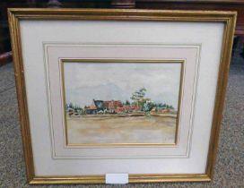 MVH SCHILIK, FARM BUILDINGS, SIGNED & DATED 1916, FRAMED WATERCOLOUR,