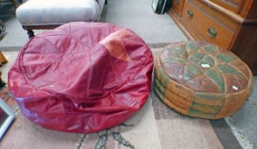 TWO LEATHER MIDDLE EASTERN FLOOR CUSHIONS,
