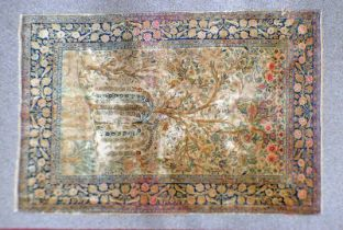 YELLOW GROUND MIDDLE EASTERN CARPET DECORATED WITH TREE OF LIFE,