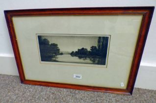 JOHNSTONE BAIRD ON THE DEE SIGNED IN PENCIL FRAMED PROOF ETCHING 12.5 CM X 29.
